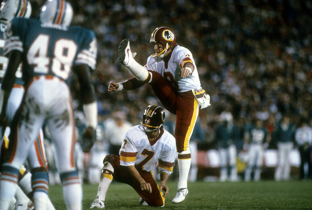Kicker Mark Moseley of the Washington Redskins attempts a field goal