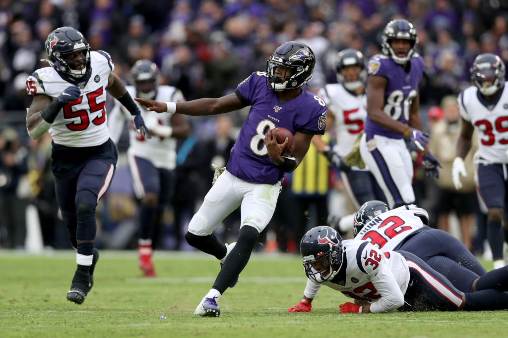 Lamar Jackson of the Baltimore Ravens rushes