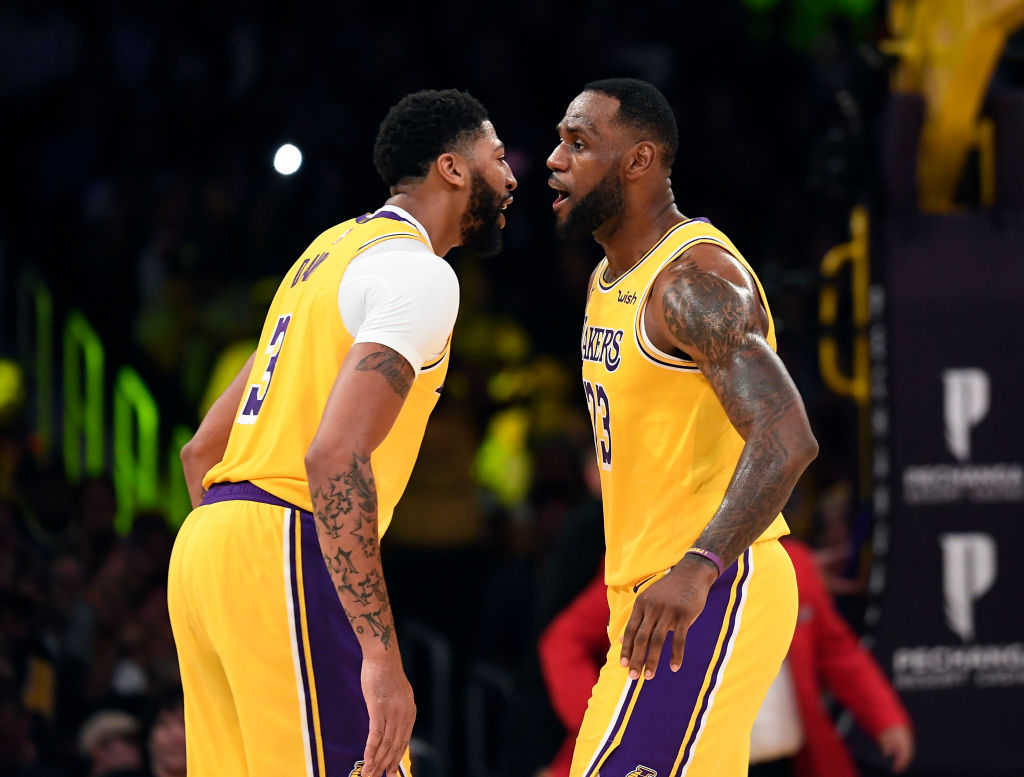LeBron James celebrates with Anthony Davis in Dallas