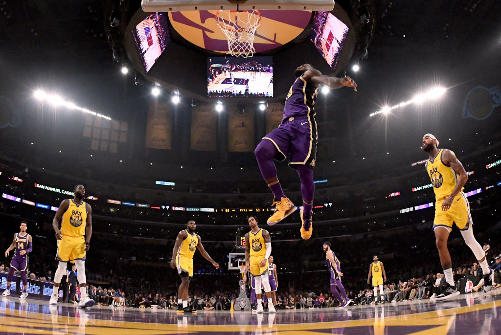 LeBron James of the Los Angeles Lakers displays his vertical jump on the court for a dunk