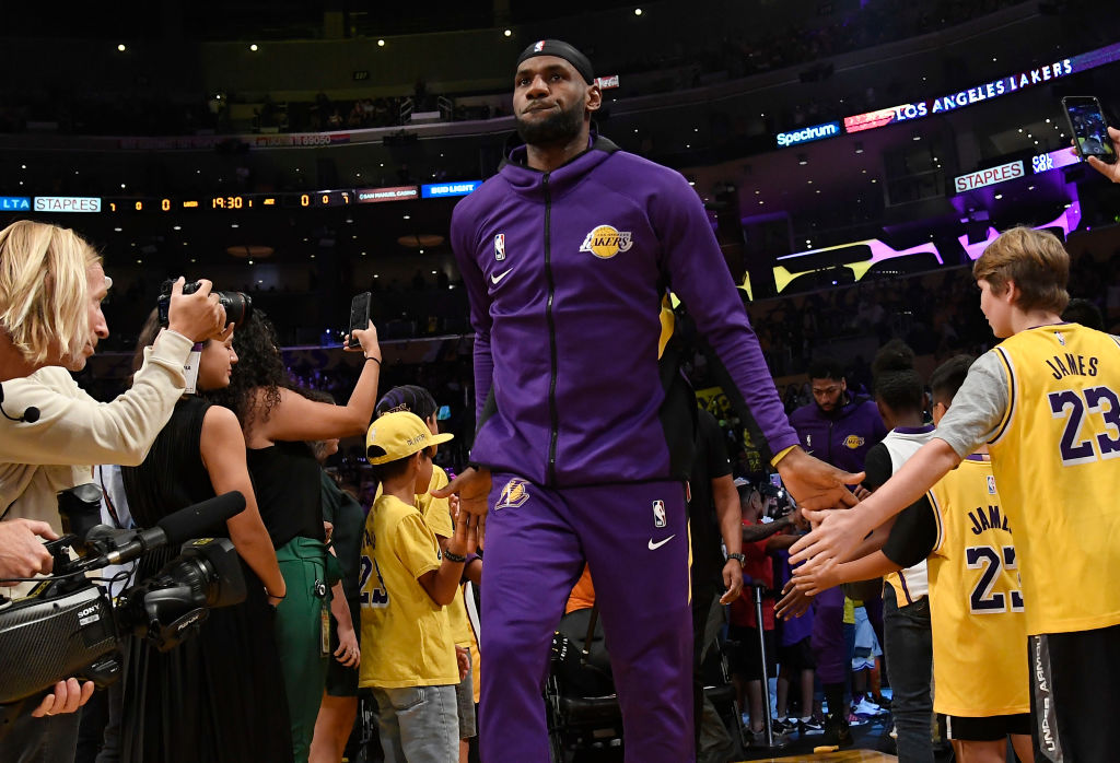 LeBron James of the Los Angeles Lakers during the home opener in 2019