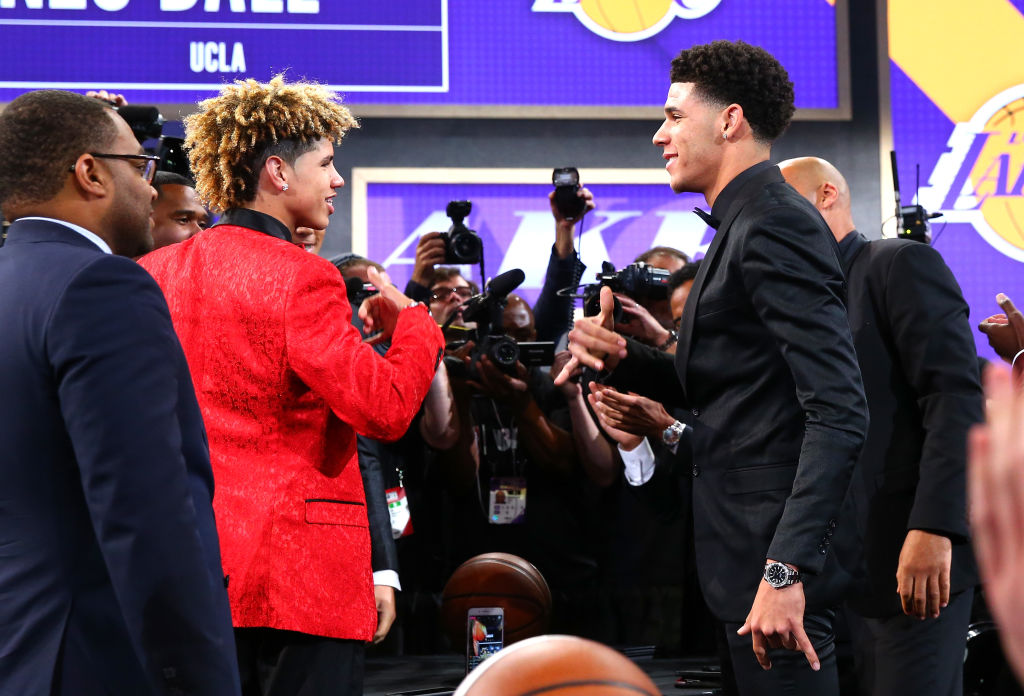 NBA player Lonzo Ball (right) believes his younger brother LaMelo (left) could be a better player than him.