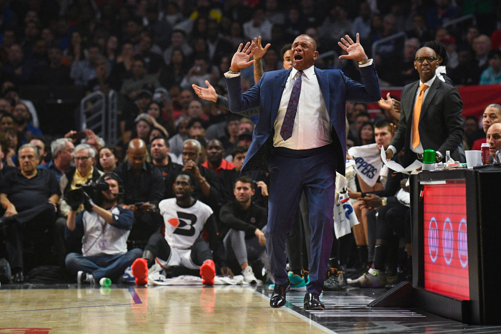 Los Angeles Clippers head coach Doc Rivers reacts to a call