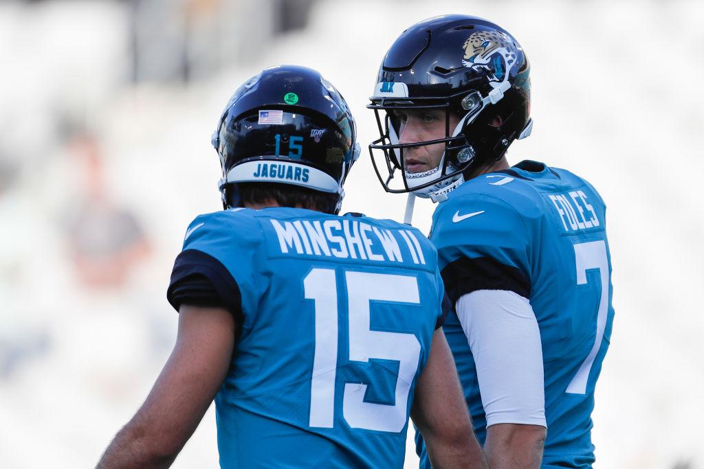 Jacksonville Jaguars coach Doug Marrone has a choice to make between quarterbacks Gardner Minshew (left) and Nick Foles.