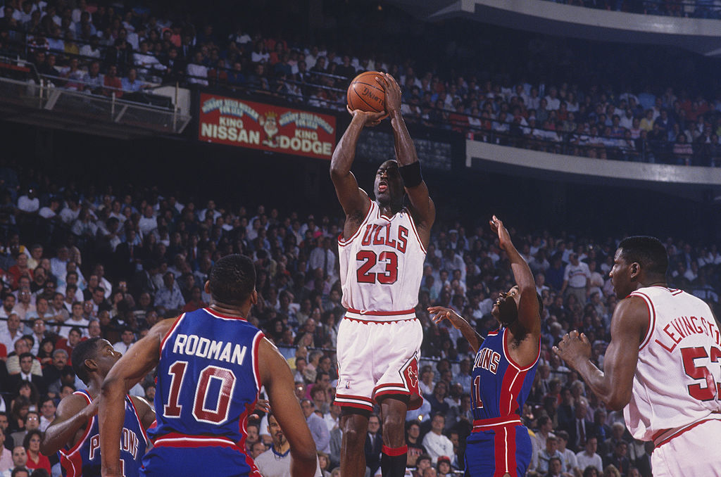 Michael Jordan of the Chicago Bulls jumps to shoot a basket