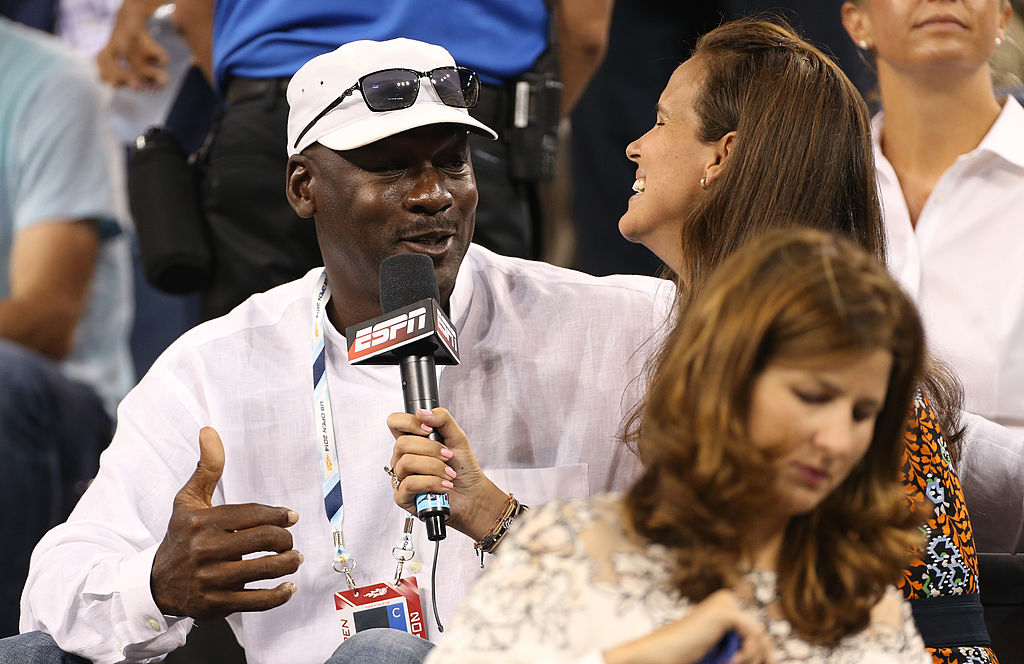 Michael Jordan is interviewed by Mary Joe Fernandez Godsick of ESPN
