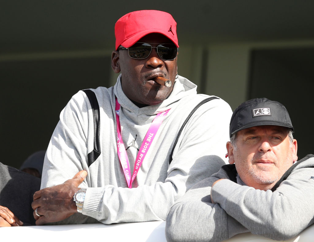Michael Jordan watches the action on day two of the Ryder Cup