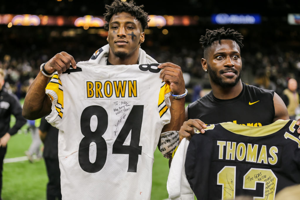 Saints' Michael Thomas and former Steeler Antonio Brown.