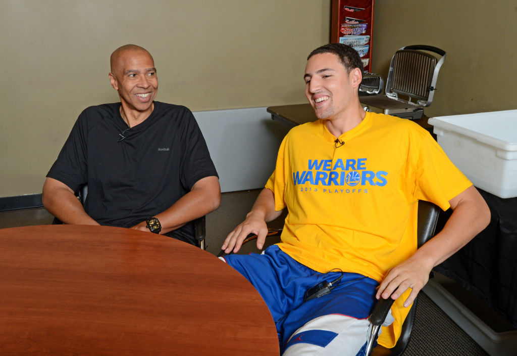 Mychal Thompson (left) said Warriors fans hoping the team would tank after his son Klay Thompson's (right) injury aren't thinking right.