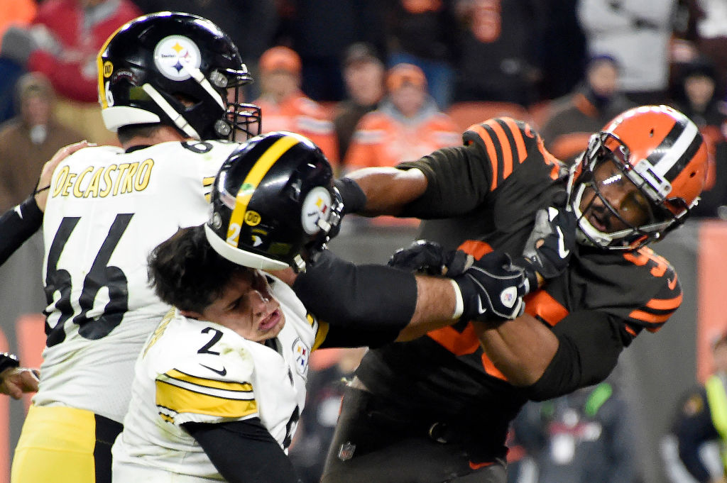 Myles Garrett turned a helmet into a weapon to attack Mason Rudolph with