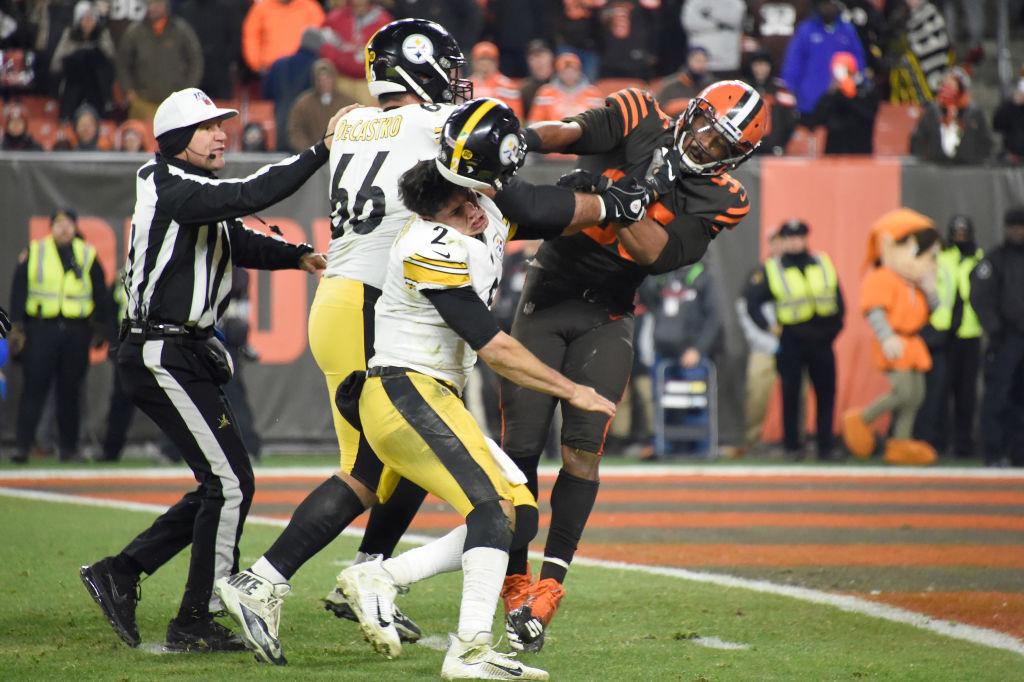 Myles Garrett striking Mason Rudolph with his helmet