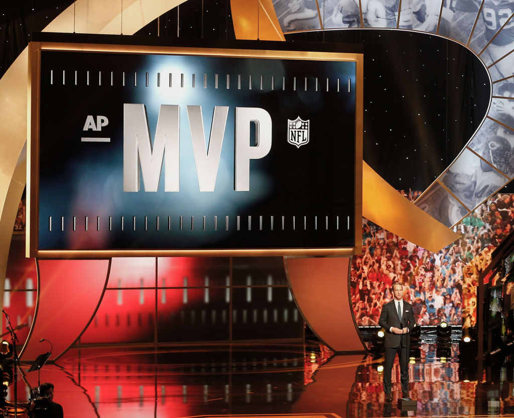 The stage for an NFL MVP ceremony.