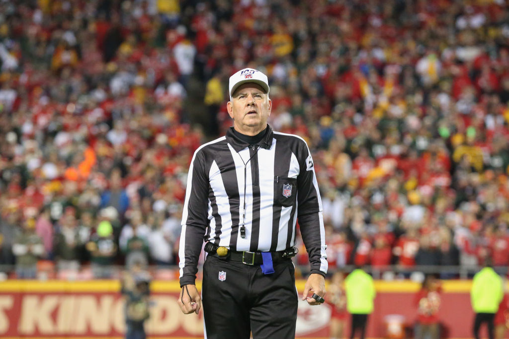 NFL referee Bill Vinovich explains a call.