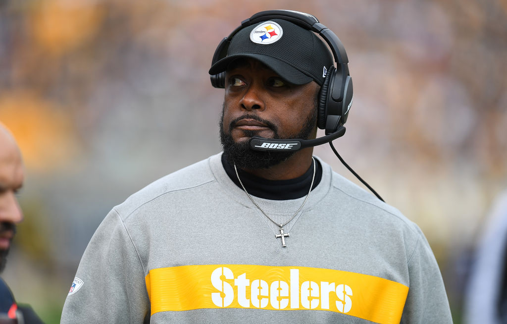 NFL head coach Mike Tomlin looks on from the sidelines.