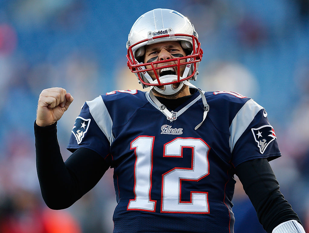 Tom Brady, the oldest quarterback in the NFL, celebrates after a touchdown.