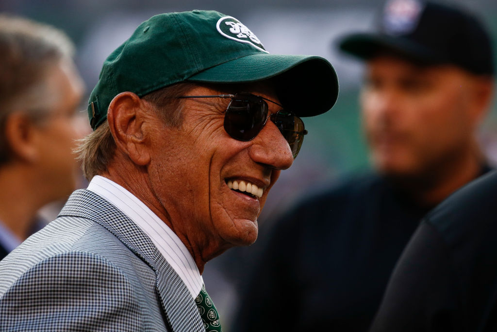 New York Jets legend Joe Namath stands on the sidelines