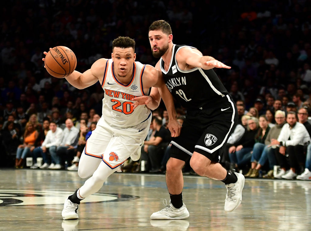 New York Knicks' guard Kevin Knox drives to the hoop.