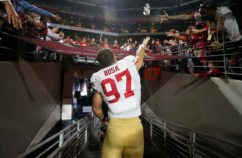 Nick Bosa (pictured) and older brother Joey Bosa are tearing up NFL offenses.