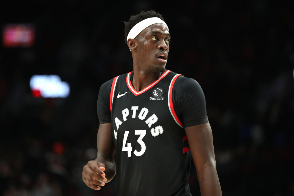Pascal Siakam looks on during a Raptors game.