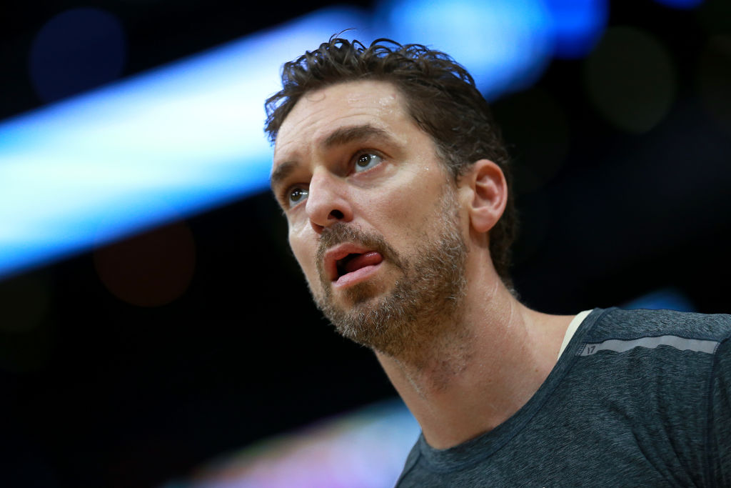 Pau Gasol of the Milwaukee Bucks stands on the court during the warms ups