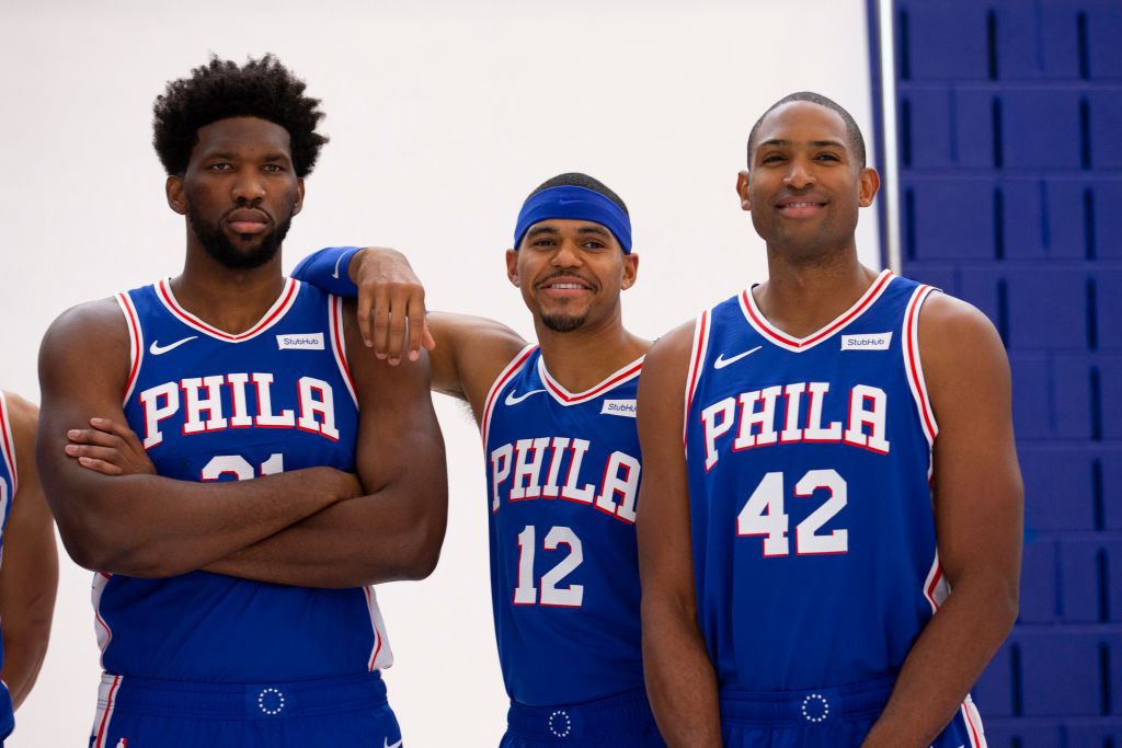 Joel Embiid, Tobias Harris, and Al Horford of the Philadelphia 76ers poses for a photo