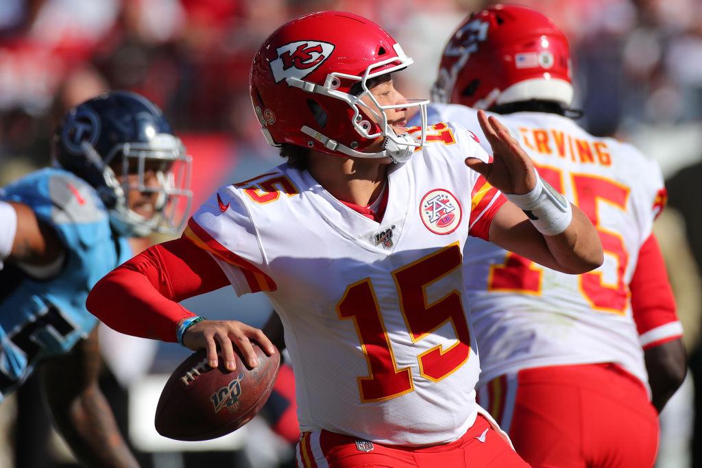 Quarterback Patrick Mahomes of the Kansas City Chiefs looks to pass