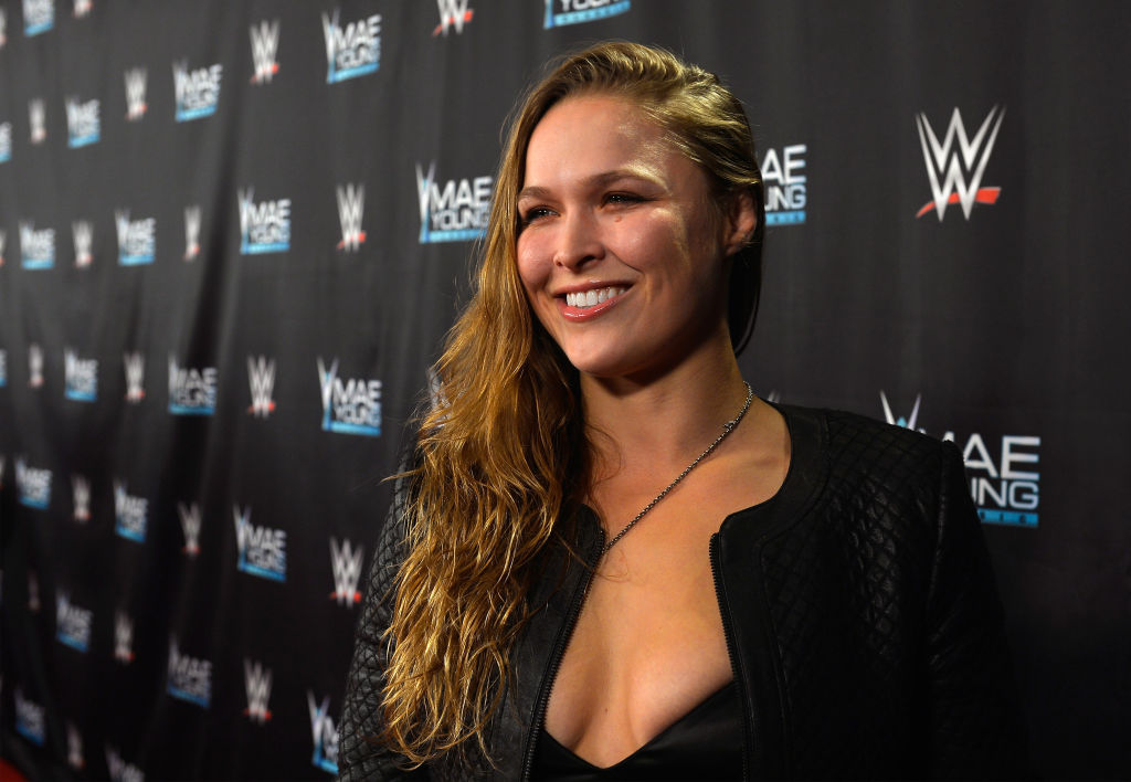 MMA fighter Ronda Rousey appears on the red carpet of the WWE Mae Young Classic