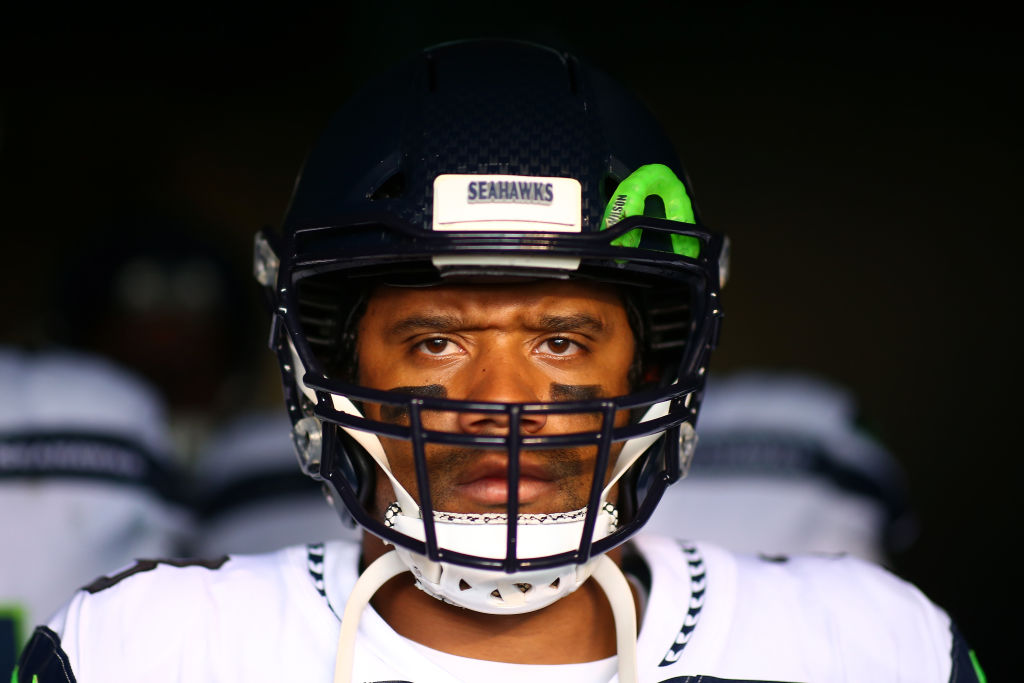 Russell Wilson of the Seattle Seahawks waits to take the field