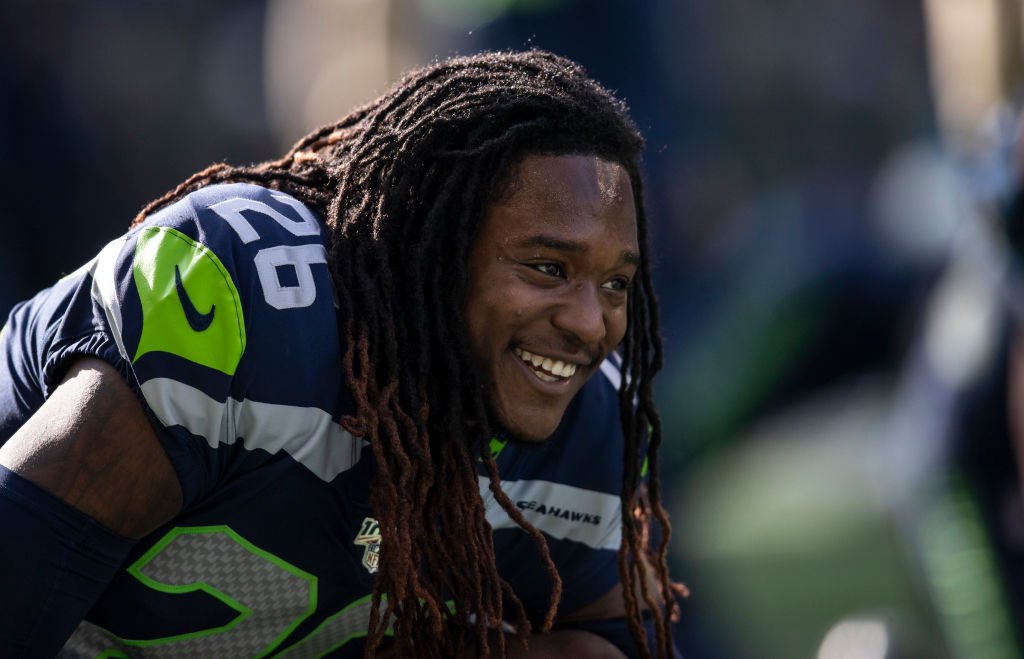 Shaquill Griffin, of the Seahawks, stretches before a game.