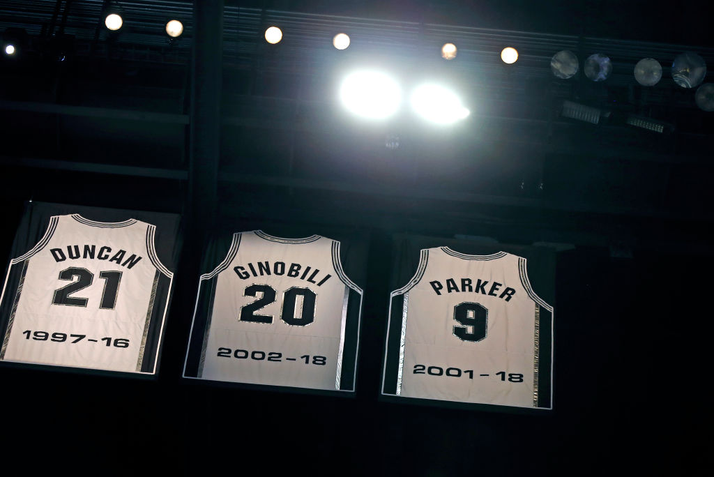 Tony Parker's jersey joins Tim Duncan's and Manu Ginobili's in the rafters