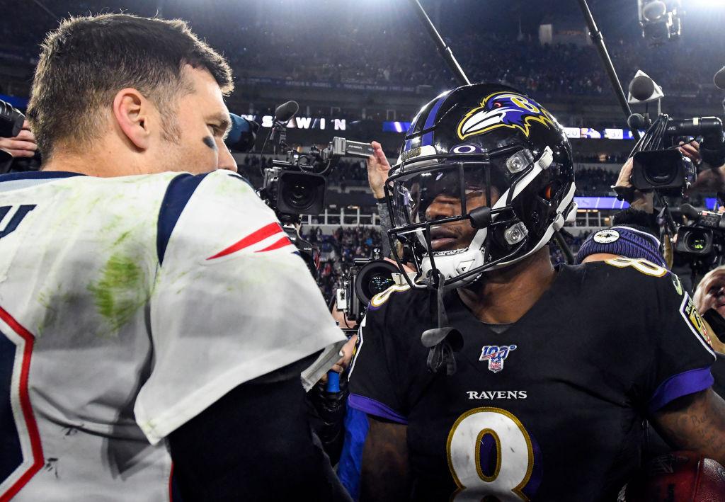 Patriots quarterback Tom Brady and Ravens quarterback Lamar Jackson