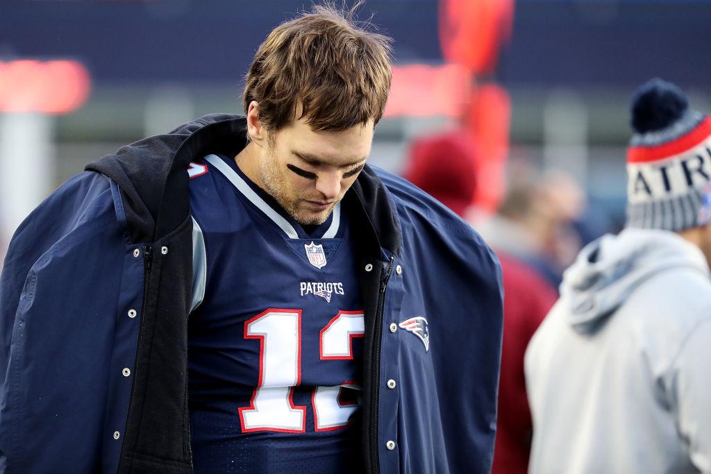 New England Patriots quarterback Tom Brady on the sideline.