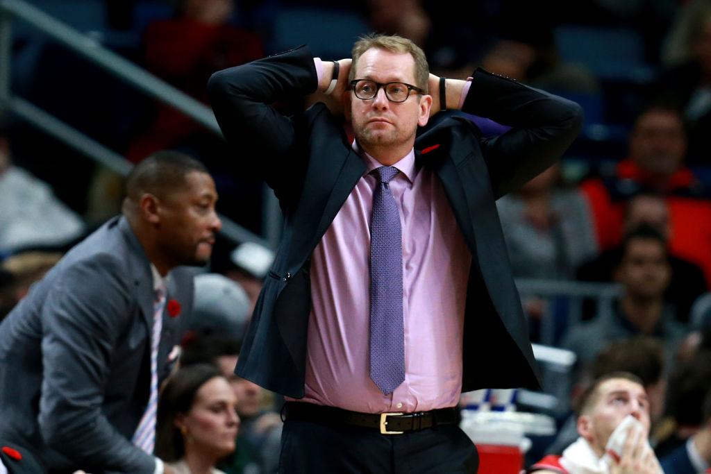 Toronto Raptors head coach Nick Nurse looks on during an NBA game