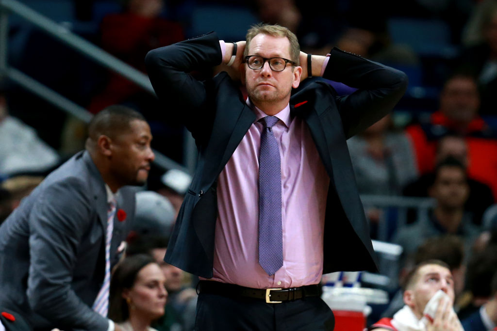 Toronto Raptors head coach Nick Nurse looks on during an NBA game
