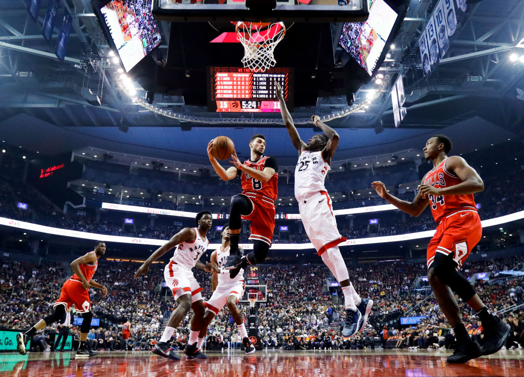 Zach LaVine of the Chicago Bulls goes to the basket