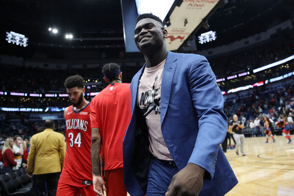 Zion Williamson of the New Orleans Pelicans looks on during a game against the Golden State Warriors