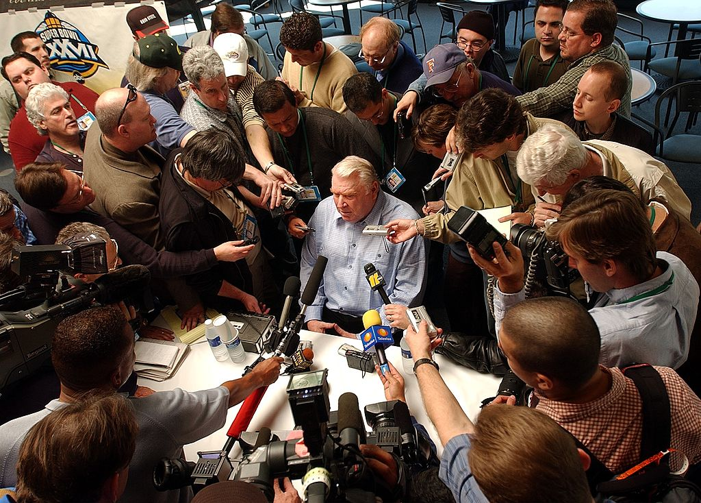ABC commentator John Madden answers questions from the media in preparation for Super Bowl XXXVII