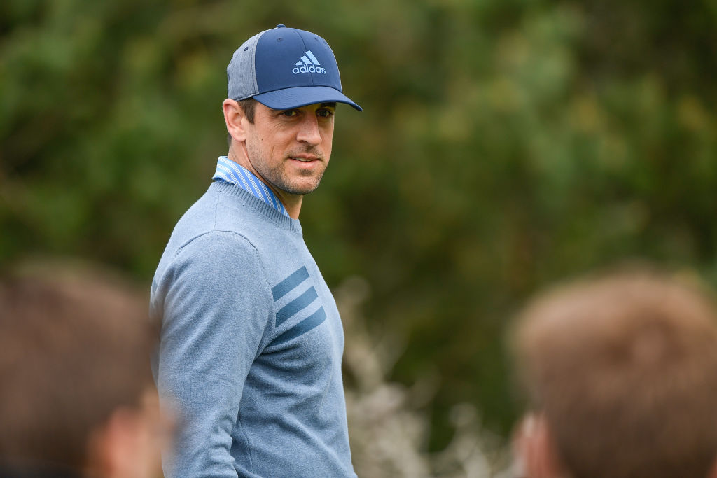 Aaron Rodgers walks off the sixth hole tee box during the second round of the AT&T Pebble Beach Pro-Am