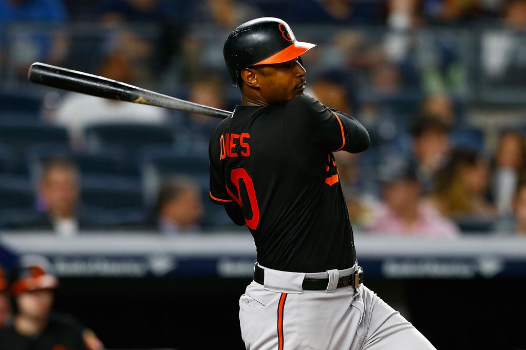 Adam Jones in action with the Baltimore Orioles