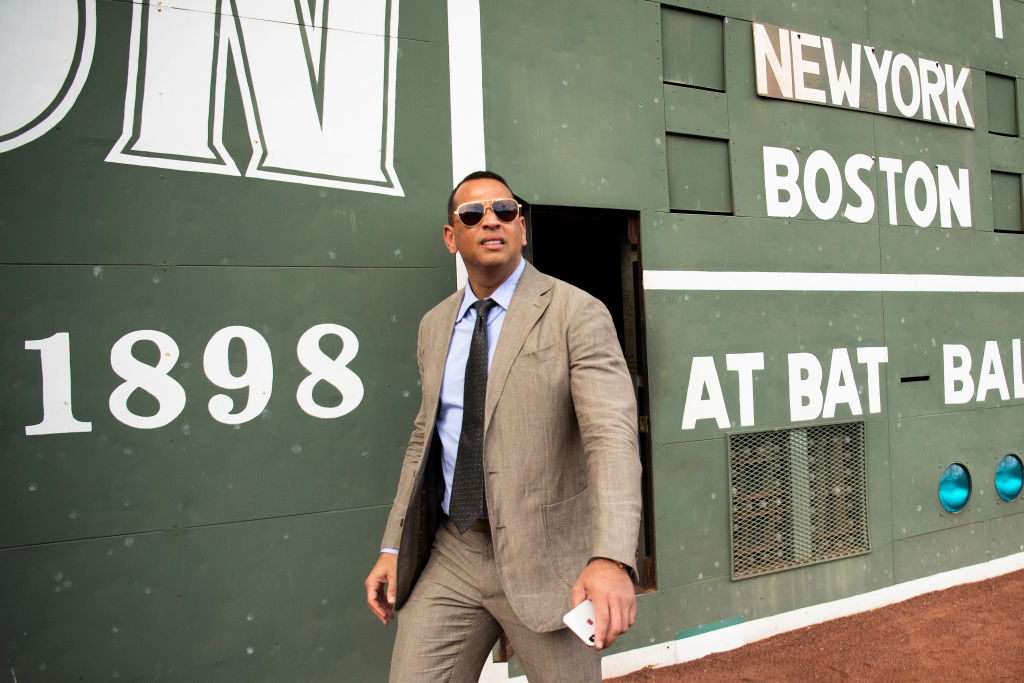 ESPN Sunday Night Baseball color commentator Alex Rodriguez exits the Green Monster