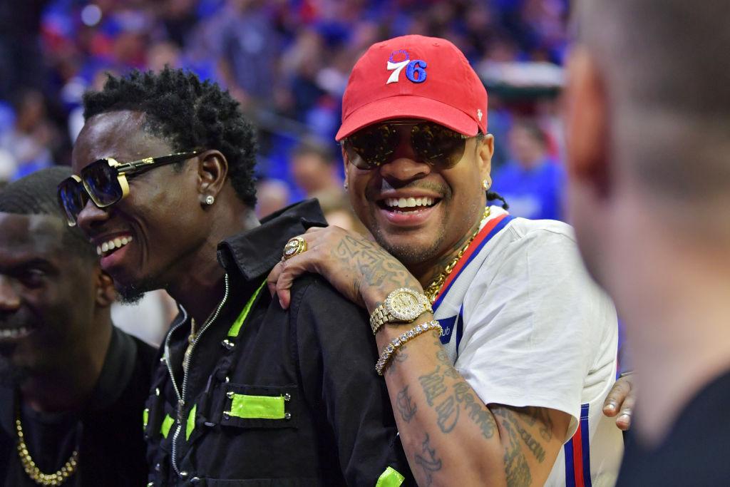Entertainer Michael Blackson and former NBA player Allen Iverson joke around