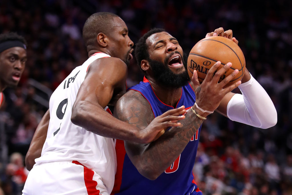 Andre Drummond of the Detroit Pistons tries to drive to the basket