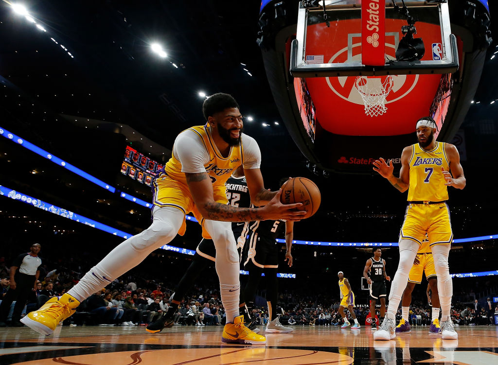 Anthony Davis of the Los Angeles Lakers reacts after grabbing a rebound