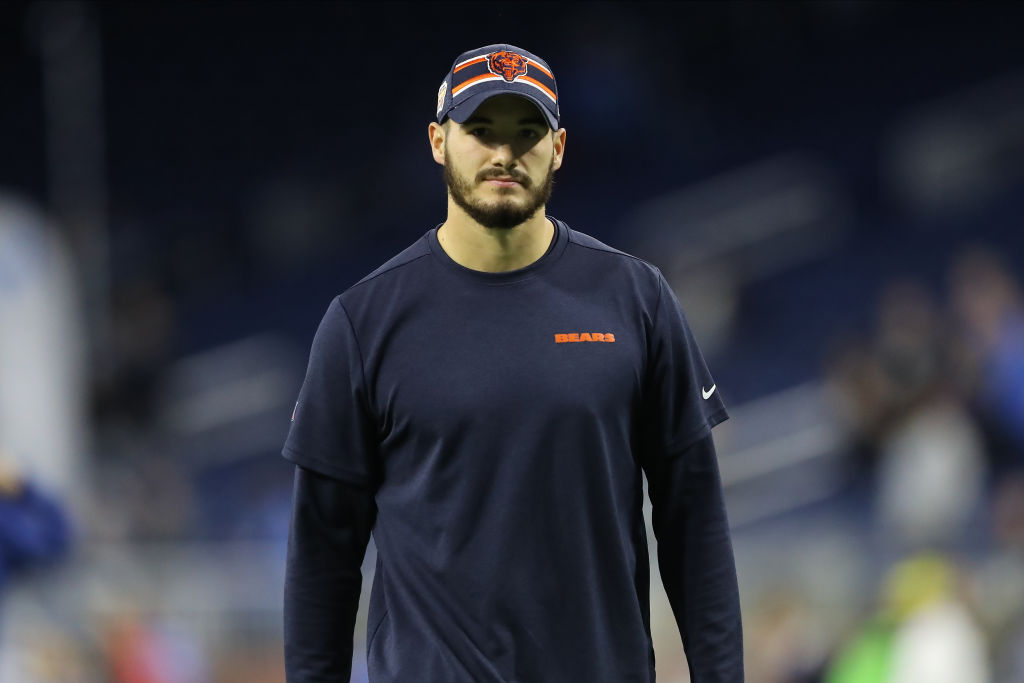 Bears quarterback Mitchell Trubisky warms up before a game.