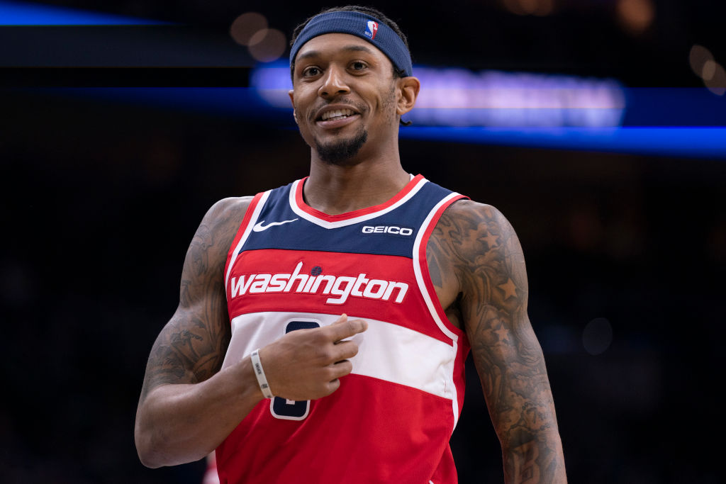 Bradley Beal of the Washington Wizards reacts during a game