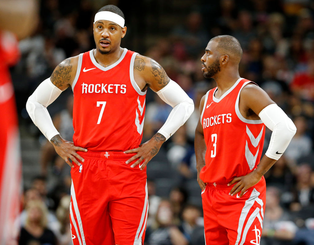Former Rockets teammates Carmelo Anthony and Chris Paul
