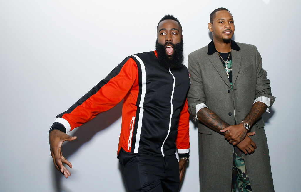 Carmelo Anthony and James Harden attend Melo Made presentation in 2018