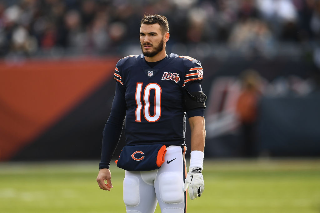 Mitchell Trubisky warming up before an NFL game.