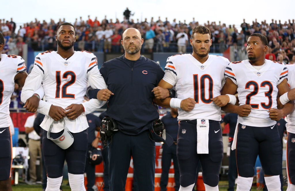 Chicago Bears head coach Matt Nagy stands with players Allen Robinson, Mitch Trubisky, and Kyle Fuller during the national anthem