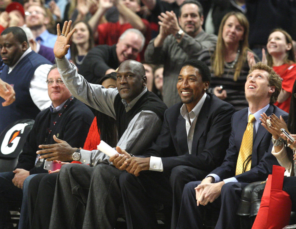 Former Chicago Bulls stars Scottie Pippen and Michael Jordan